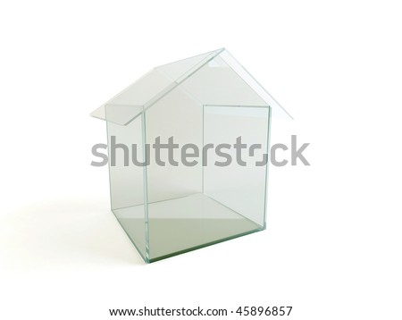 Small construction of glass on the white background. - stock photo