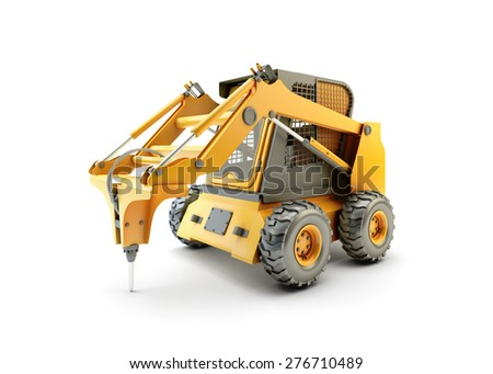 Small construction utility vehicle isolated on white - stock photo