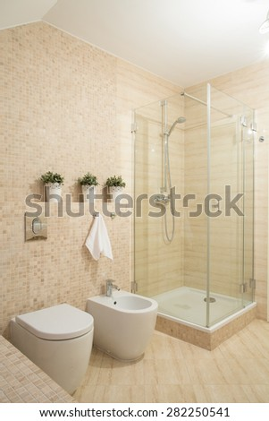 Small contemporary bathroom with shower with glass door