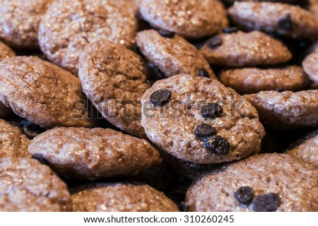 Small cookies with chocolate chips; Cookies closeup