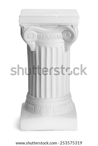 Small Corinthian Column Pillar Isolated on White Background. - stock photo