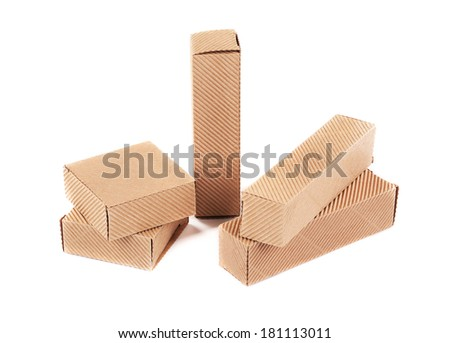 Small corrugated boxes. Isolated on a white background.
