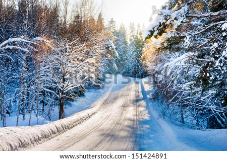 Small country road in winter with sunshine on trees - stock photo