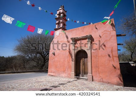 small countryside chapel used for the conversion of the indians to catholicism in Mexico