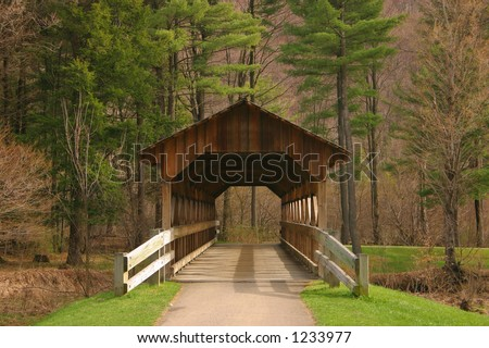 Small covered bridge found in NYS - stock photo