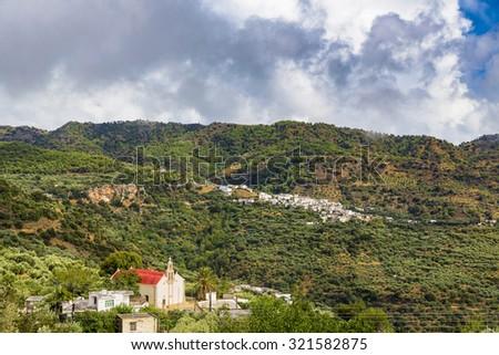 Small Cretan village in Crete Island, Greece.  - stock photo