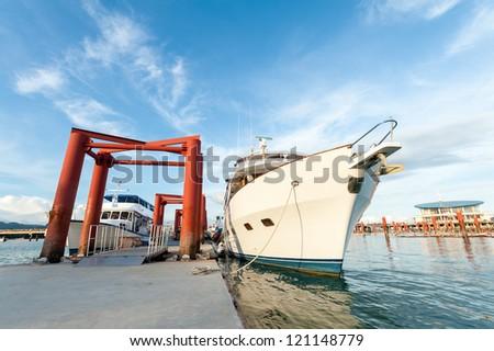 small cruise ship at a dock, phuket Thailand - stock photo