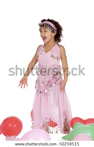 Small cute girl looking like she is singing