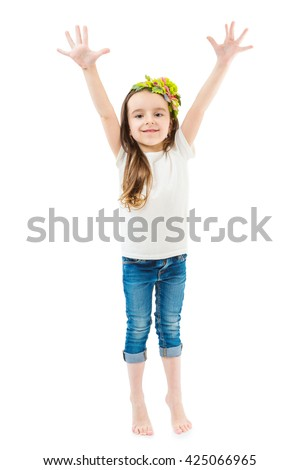 Small cute girl raise hands up. Waving her arms to attract attention, showing ten fingers on the palm. Empty no print template clothes for place your logo ad images branding.  Studio shot.
