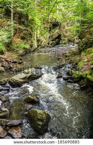 small czech mountain creek Doubrava in Czech Republic - stock photo