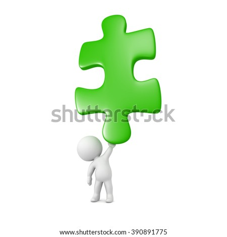 Small 3D character holding up a very large green puzzle piece. Isolated on white background.