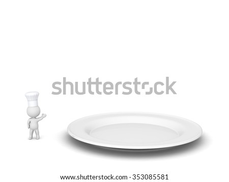 Small 3D character wearing a chef hat, showing a large empty plate. Isolated on white background.  - stock photo