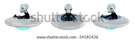 Small 3d grey alien driving UFO vehicle, isolated, front and side views - stock photo