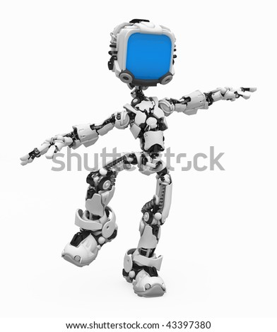 Small 3d robotic figure balancing, over white, isolated