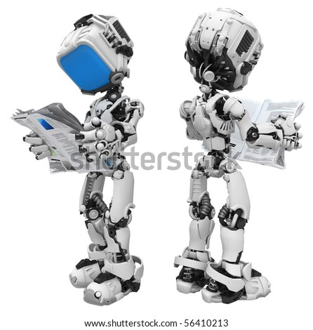 Small 3d robotic figure, over white, isolated - stock photo