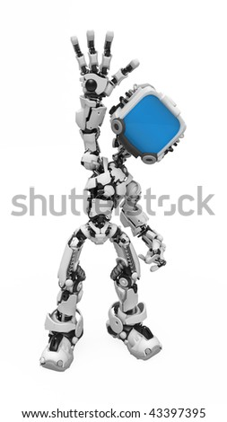 Small 3d robotic figure waving, over white, isolated - stock photo