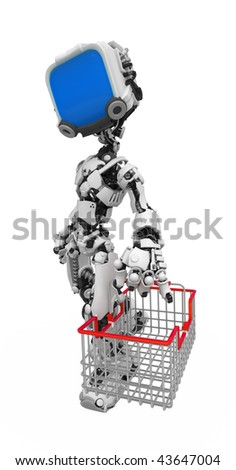 Small 3d robotic figure with a wire basket, over white, isolated