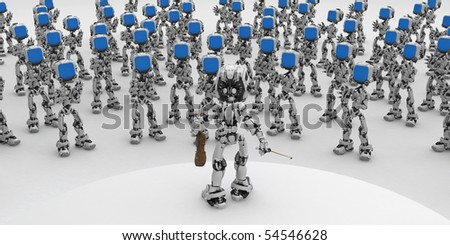Small 3d robotic figures applauding violin player