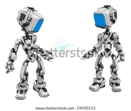 Small 3d robotic figures, over white, isolated