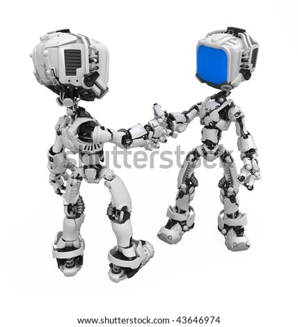 Small 3d robotic figures shaking hands, over white, isolated