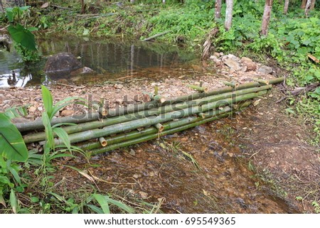 small dam made from bamboo and rock in the forest
