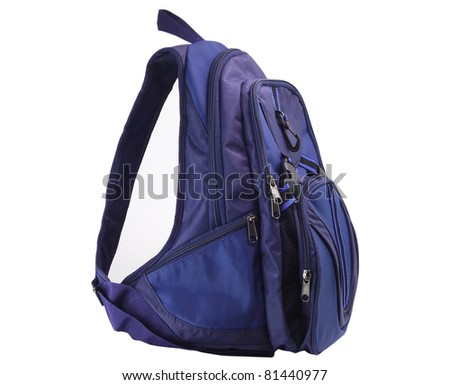 Small dark blue backpack on a white background - stock photo