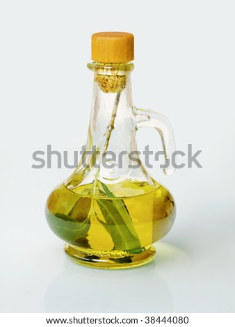 Small decanter with olive and olive oil