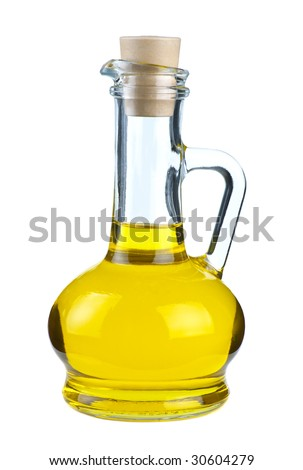 Small decanter with olive or sunflower oil isolated on the white background - stock photo
