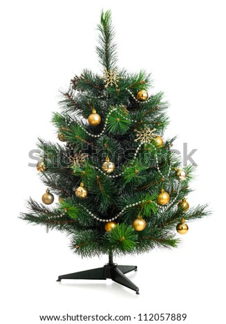 Small decorated christmas tree isolated on white - stock photo
