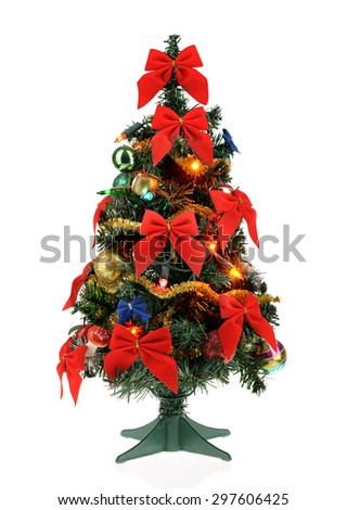 small decorated christmas tree isolated on white background - Small Real Christmas Trees