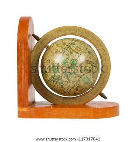 Small decorative antique globe, isolated on white - stock photo