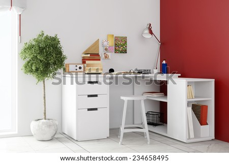 Small desk in living room for home office on a wall (3D Rendering) - stock photo