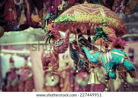 small different colors elephant toy in dilli haat shop