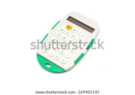 Small digital calculator. Isolated on white background - stock photo