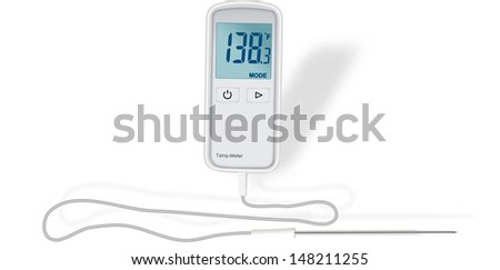 Small digital thermometer. External probe. Heat. Cold. Measurement. Measuring. Device. - stock photo