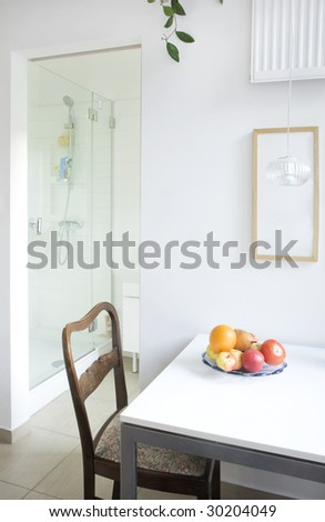 small dining room and bathroom - stock photo