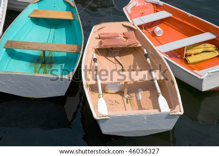 Small dories on pier in Marblehead, Ma - stock photo