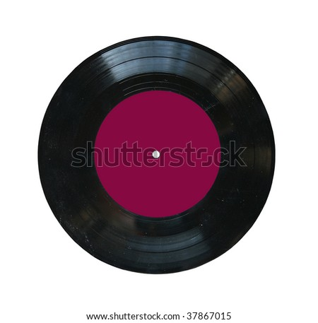 small dusty vinyl record with blank label isolated - stock photo