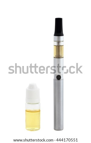 Small e-cigarette with liquid bottle isolated on white background