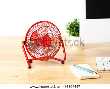 small electric fan - stock photo