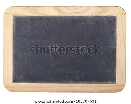 Small empty blackboard in a bright wooden frame - stock photo