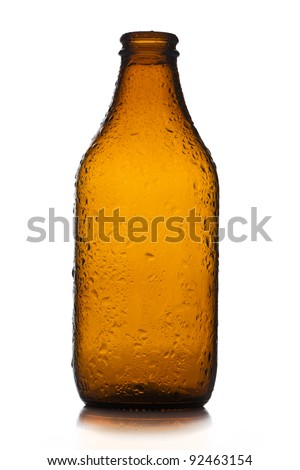 Small empty bottle of beer - stock photo