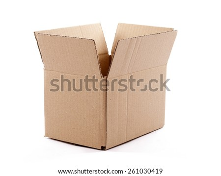 Small empty cardboard box isolated over a white background - stock photo