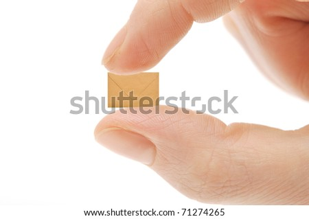 small empty envelope on woman's finger. Isolated on white - stock photo