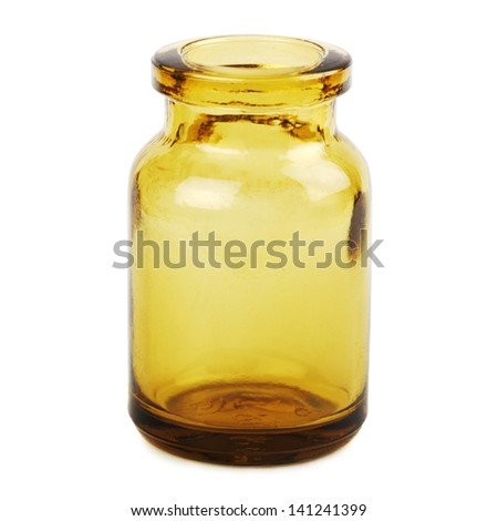 Small empty medicine bottle isolated on white