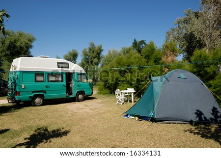 Small european motorhome parked at campsite in France - stock photo