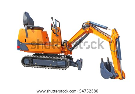 Small excavator of orange colour isolated on the white - stock photo