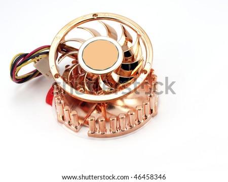 Small fan for microprocessor over white - stock photo
