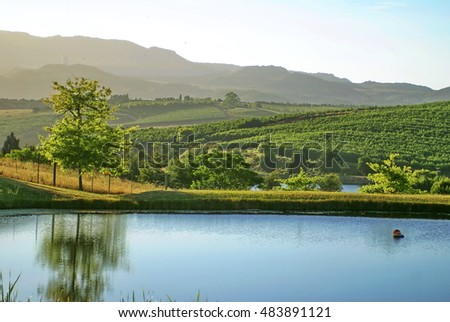 Small farm lake in Grabouw, South Africa, near Cape Town, at sunrise