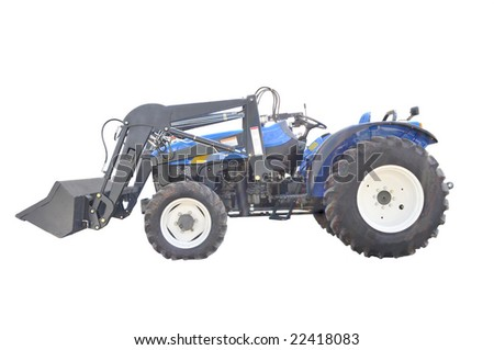 Small farm tractor isolated on white - stock photo